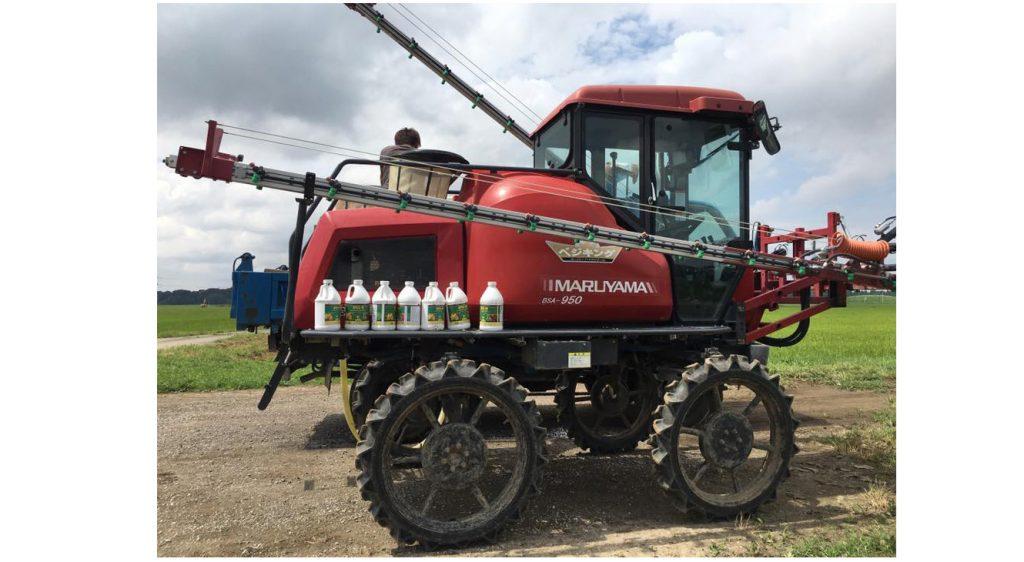 千葉県の大規模農場はこのマシンで、さまざまな剤を散布します。